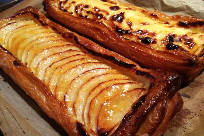 Banda de hojaldre y manzana